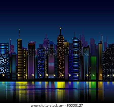 night city - stock vector