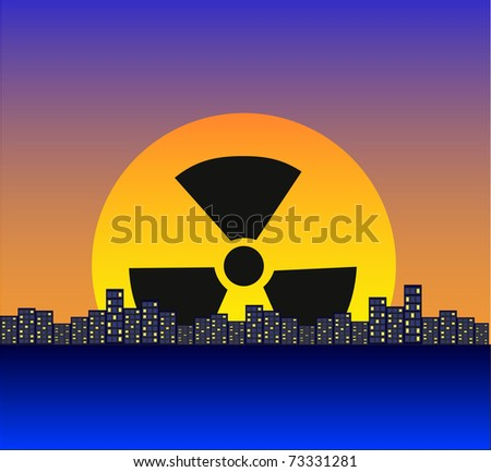 Night city against a dawn, the radiating sun - stock vector
