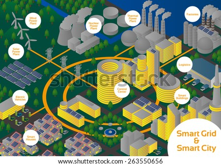 Night City and Smart Grid image illustration, vector - stock vector