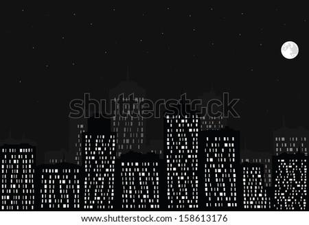 Night city, full moon and stars. Vector EPS10. - stock vector