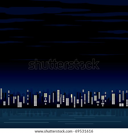Night city illustrated background for your text or design - stock vector