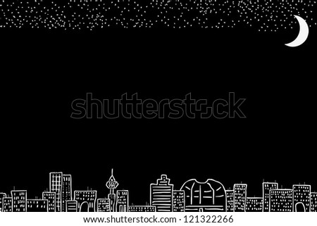 night city in the background - stock vector