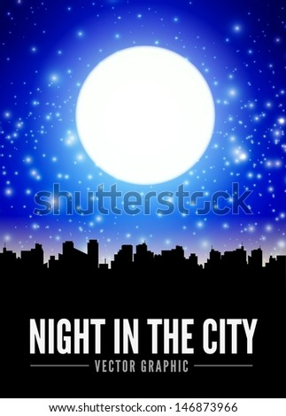 Night city landscape with big moon - stock vector