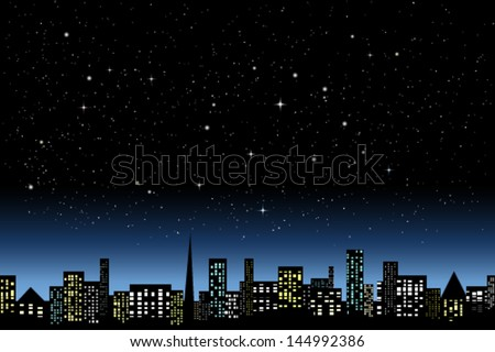 Night city light - stock vector