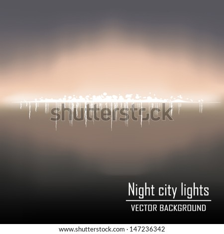 night city lights background vector - stock vector