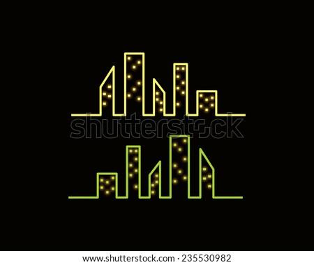 night city skyline - stock vector