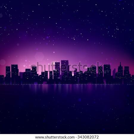 Night City Skyline. Vector Cityscape Background - stock vector