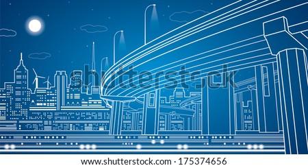 Night city, vector town, vector lines overpass, vector bridge, vector design - stock vector