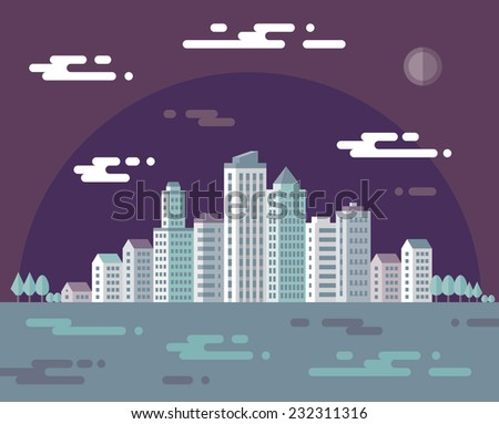 Night cityscape - vector concept illustration in flat design style for presentation, booklet, website and different design projects. Urban landscape illustration. Real estate. Building in city. - stock vector
