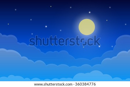 Night cloudy sky with stars and full moon in flat icon design background(vector) - stock vector