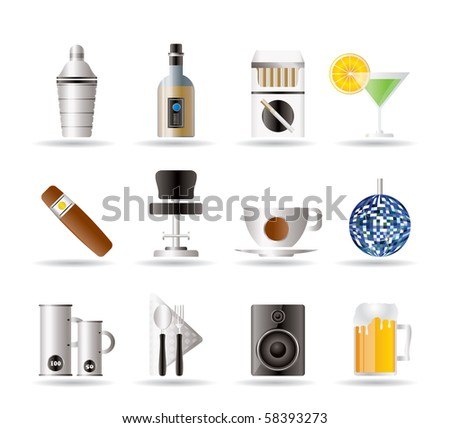 Night club, bar and drink icons - vector icon set - stock vector