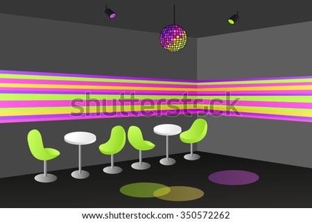 Night club disco interior table chair illustration vector - stock vector