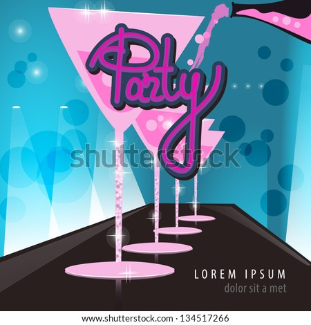 Night Club Drinks  - Vector Illustration, Graphic Design Editable For Your Design - stock vector