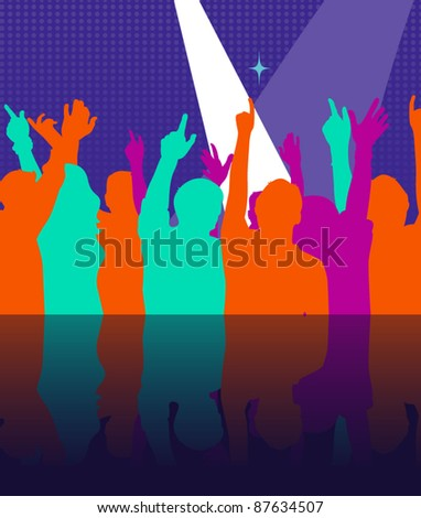 Night club party crowd vector - stock vector