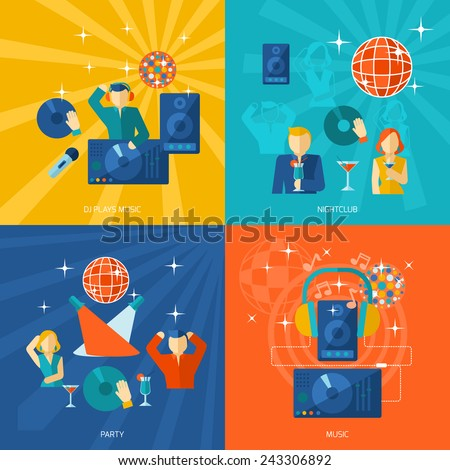 Night club party flat icons set with men and women playing music and dancing vector illustration - stock vector