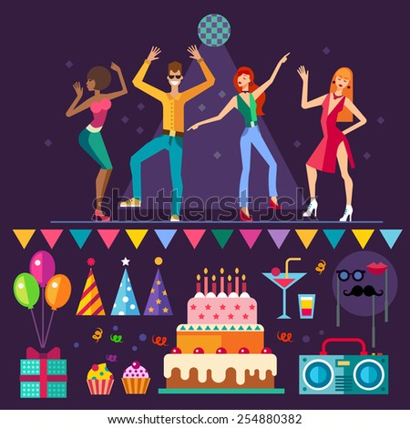 Night club. People dancing. Music party: holiday, cake, balloons, gift, mask, cocktail. Vector flat icon set and illustrations - stock vector
