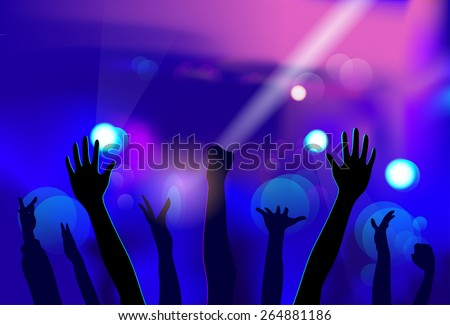 NIght Club People Hands Silhouettes Celebration Event Stage Crowd Dancing Vector Illustration - stock vector