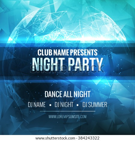 night dance party poster background template stock vector 384243322