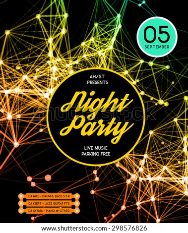 Night Disco Party Poster Background Template - Vector Illustration - stock vector