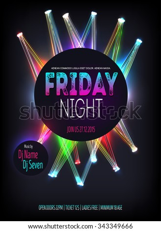 Night Disco Party Poster with glowing lines. Background Template - Vector Illustration - stock vector