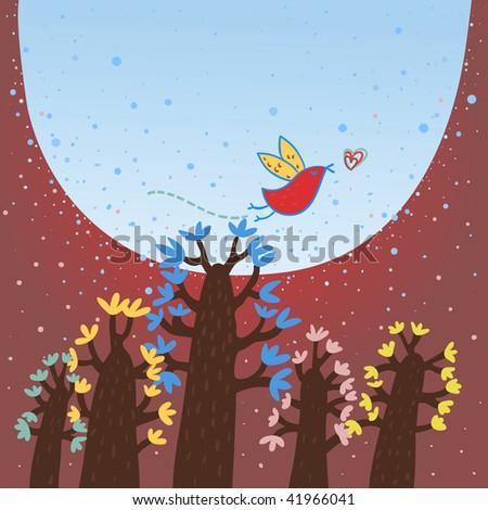 Night forest. Cartoon vector illustration - stock vector
