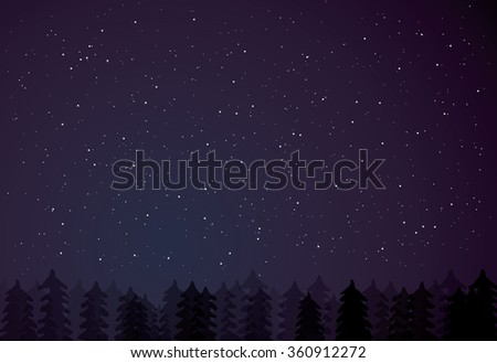 Night forest on dark starry background. Trees silhouettes on the star night background. Night forest. Fir trees, pine trees. Vector illustration. - stock vector