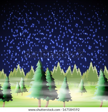 Night forest, vector illustration, eps10, 4 layers, easy editable - stock vector