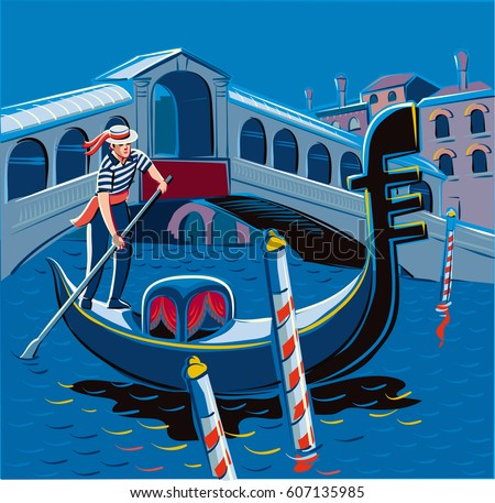 stock vector night in a gondola on the grand canal in venice in the background the rialto bridge 607135985 - Каталог — Фотообои «Венеция»