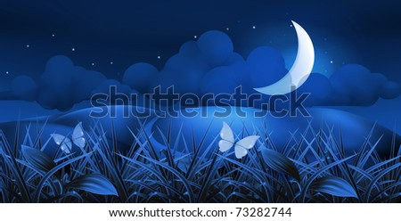 Night landscape, 10eps - stock vector