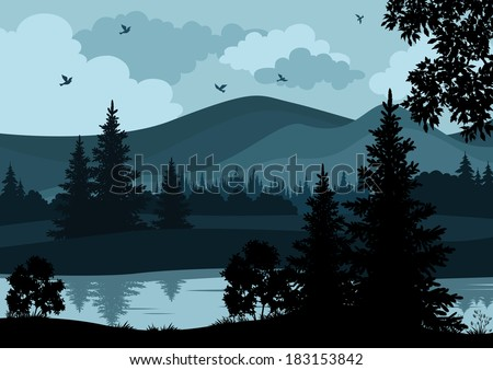 Night landscape, mountains, river, trees and birds, silhouettes. Vector - stock vector