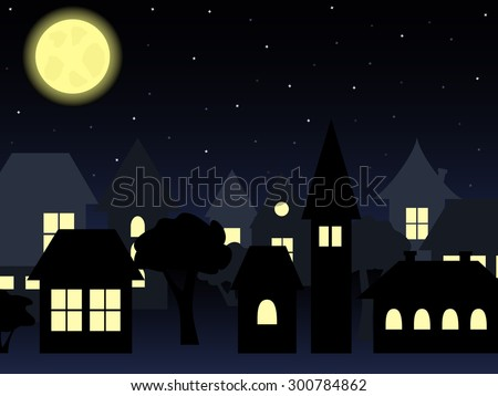 night landscape of old-fashioned houses with a shining moon and starry sky - stock vector