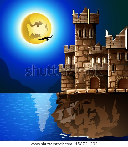Night landscape. Rock, castle, moon and crows. - stock vector