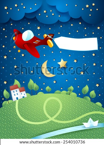 Night landscape with airplane, banner and river. Vector eps10 - stock vector