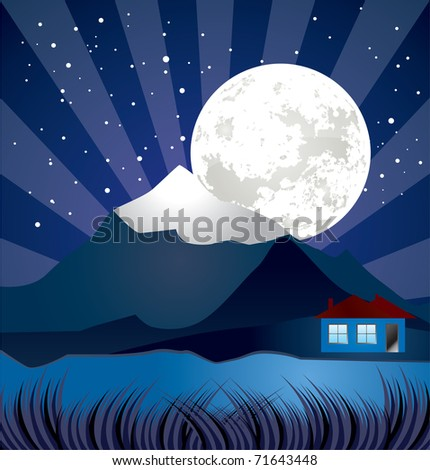 night landscape with river - vector, stars and moon illustration
