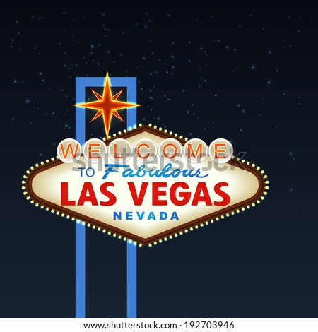 Night Las Vegas Sign. Vector - stock vector