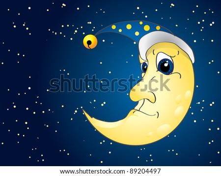 Night moon on starry night - stock vector