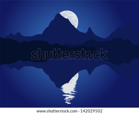 Night mountain landscape with full moon and reflection in the water. Vector illustration. - stock vector