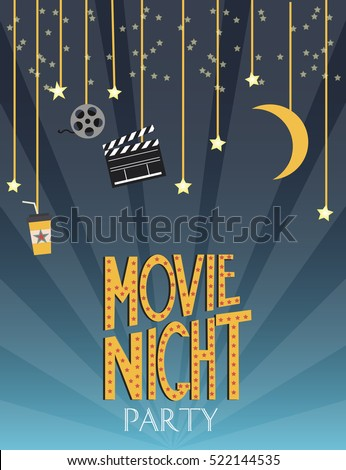 Night movie party invitation card birthday stock vector 522144535 night movie party invitation card birthday party invitation or poster vector illustration stopboris Image collections