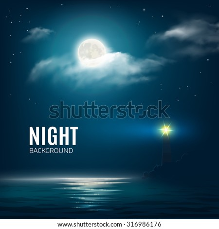 Night nature cloudy sky with stars, moon and calm sea with lighthouse. Vector illustration - stock vector