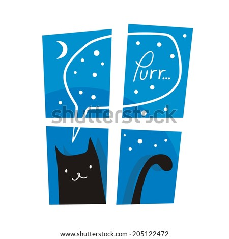 Night or winter scene with cute cat purring outside a window - stock vector
