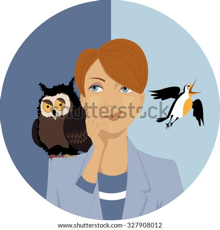 Night owl or morning lark? Portrait of a pensive woman, an owl and a lark on her shoulders, EPS 8 vector illustration - stock vector