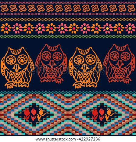 Night owls. Bohemian seamless pattern. Gypsy and Peruvian motifs. Blooming flowers, pagan owls, doodle prints, geometric triangles border. Folk art textile collection. Dark blue, red, golden. - stock vector