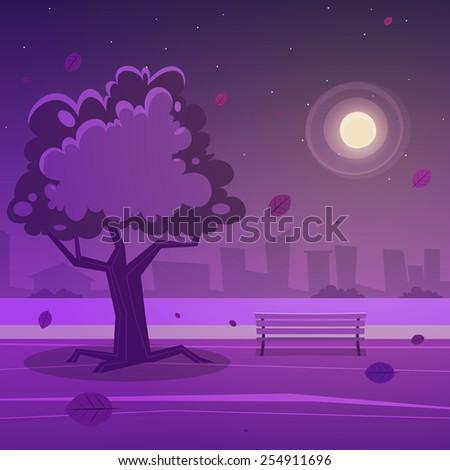Night Park - stock vector