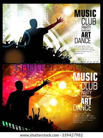 Night party, vector illustration for poster or banner - stock vector