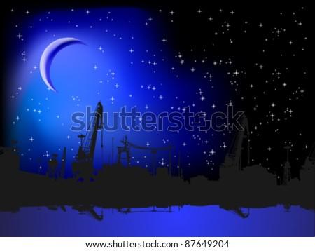 Night port - stock vector