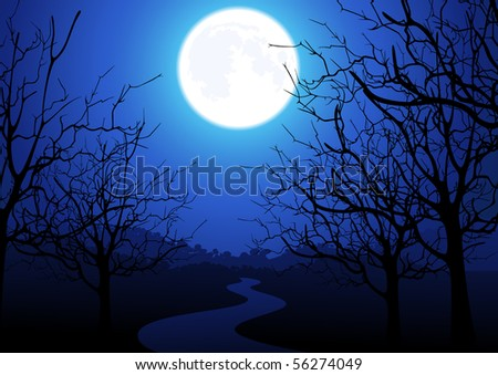 Night road, vector illustration - stock vector