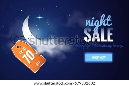 Night sale dark banner. Sale poster with moon, clouds and price tag. Vector illustration.