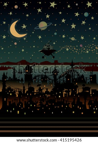 Night scene illustration with UFO flying over the imaginary city. - stock vector