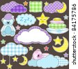 Night - set of vector design elements: moon, stars, pillows, clouds and sleeping teddy bears. Nice for cards, handmade, scrapbook etc. - stock vector
