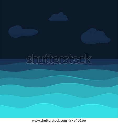 night seview background with waves & clouds - stock vector